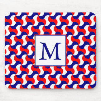 RED WHITE & BLUE RETRO PRINT with MONOGRAM Mouse Pad