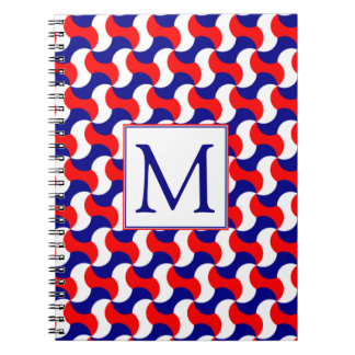 RED WHITE & BLUE RETRO PRINT with MONOGRAM Spiral Notebook