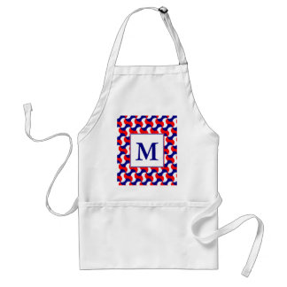 RED WHITE & BLUE RETRO PRINT with MONOGRAM Standard Apron
