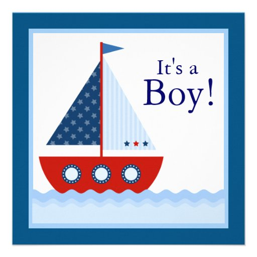"Boys Nautical Sailboat Baby Shower 5.25"" Square Invitation ..."