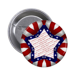 Red White & Blue Satin Star Shape Design Frame 2 Inch Round Button