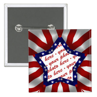 Red White & Blue Satin Star Shape Design Frame 2 Inch Square Button