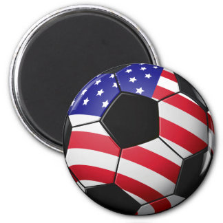 Red White Blue Soccer Ball Magnet