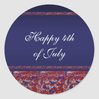 Red White & Blue Sparkle Sequins 4th of July Party Classic Round Sticker