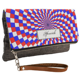 Red White Blue Spiral by Kenneth Yoncich Clutch