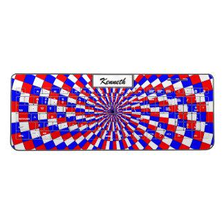 Red White Blue Spiral by Kenneth Yoncich Wireless Keyboard