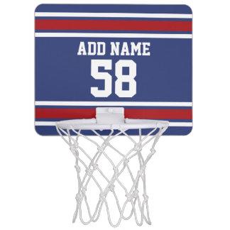 Red White Blue Sports Jersey Custom Name Number Mini Basketball Hoop