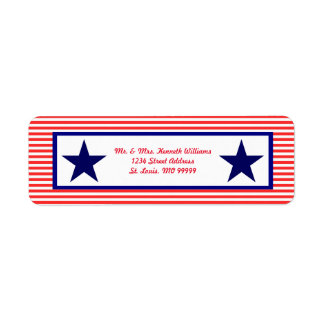 Red White & Blue Star - Address Labels