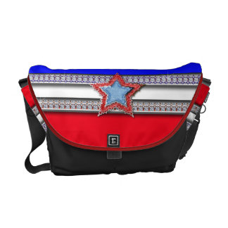 Red White Blue Star Bling Courier Bag