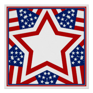 Red White & Blue Star Design to Add Text Poster