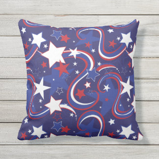 Red White Blue Star Print Pillow