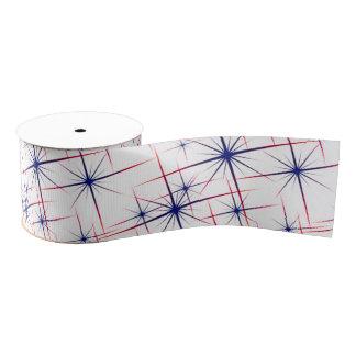 Red white & blue starbursts grosgrain ribbon