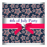 Red White Blue Stars 4th of July BBQ Party Custom Invites