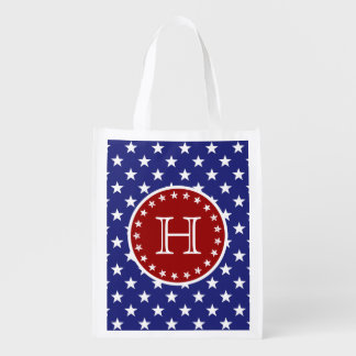 Red White Blue Stars and Stripes Monogram Grocery Bags