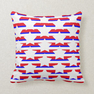 Red White & Blue Stars and Stripes Pattern Throw Pillow