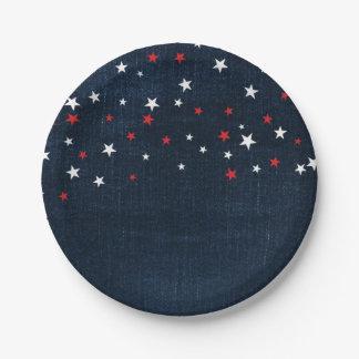 Red White & Blue Stars Denim Custom Party 7 Inch Paper Plate