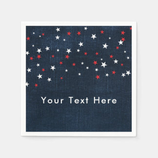 Red White & Blue Stars Denim Custom Party Napkin