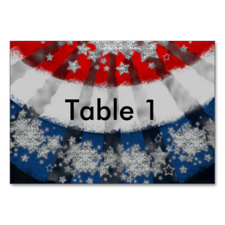 Red White & Blue Stars Flag Bunting Table Card