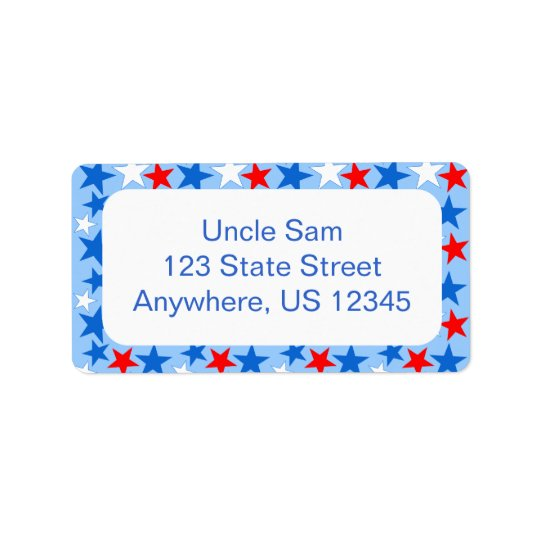 Red White & Blue Stars Label