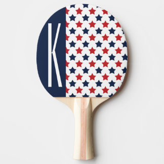Red, White, & Blue Stars Ping Pong Paddle