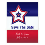 """Red White & Blue Stars Save The Date Cards 4.25"""" X 5.5"""" Invitation Card"""