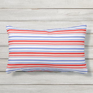 Red, White, Blue Stripe Outdoor Lumbar Pillow