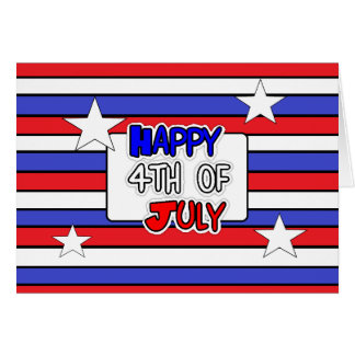 Red, White Blue Striped Happy 4th of July Card