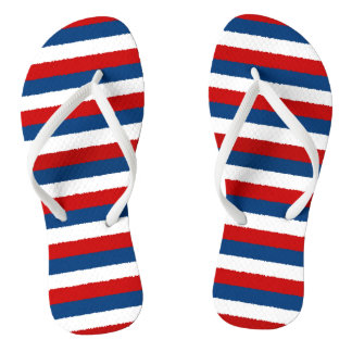 Red White Blue Striped Pattern Flip Flops