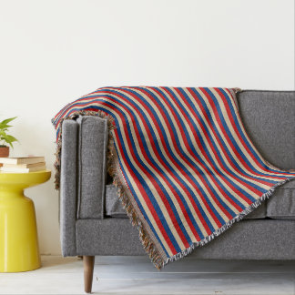 Red White Blue Striped Pattern Throw