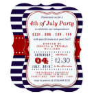 Red, White & Blue Stripes 4th Of July Party Card