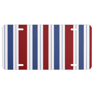 Red White Blue Stripes License Plate