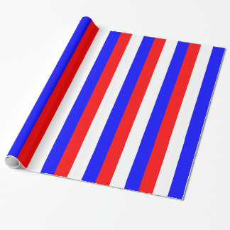 Red, white, blue stripes wrapping paper