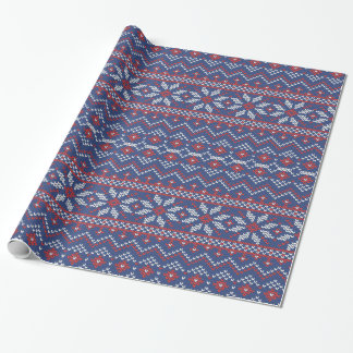 Red, White & Blue Sweater Knit Winter Snowflakes Wrapping Paper