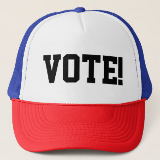 """RED/WHITE/BLUE Trucker cap with caption """"VOTE!"""""""