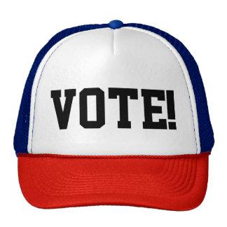 """RED/WHITE/BLUE Trucker cap with caption """"VOTE!"""" Trucker Hat"""