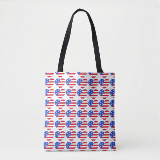 Red White Blue USA Patriotic Flag Heart Tote