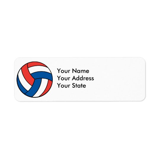 red white blue volleyball return address label