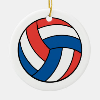 red white blue volleyball round ceramic ornament