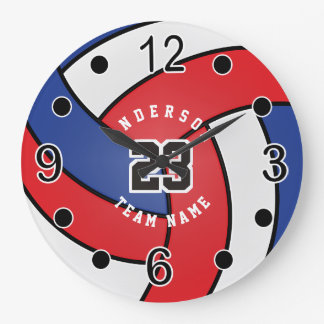 Red, White & Blue Volleyball Style with DIY Text Large Clock