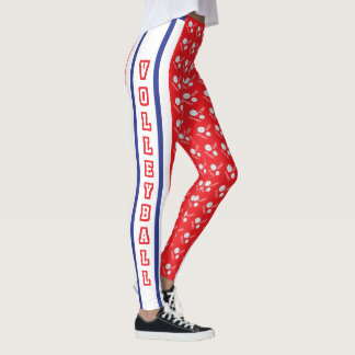 Red, White & Blue Volleyball with Jersey Stripe Leggings