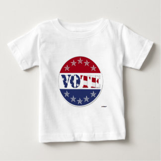 Red White & Blue VOTE with US Flag & Stars - round Baby T-Shirt