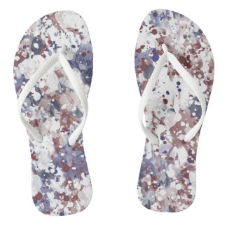 Red White Blue Watercolor Patriotic Abstract Flip Flops