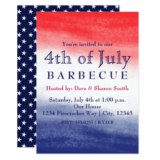 Red White & Blue Watercolor Patriotic Invitations