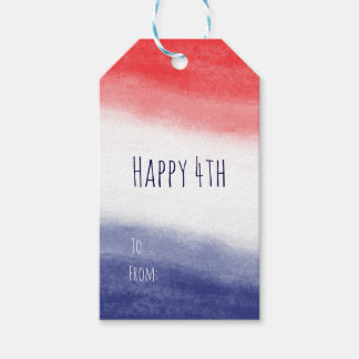Red White & Blue Watercolor Patriotic USA Pack Of Gift Tags