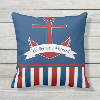 Red White Blue Welcome Aboard Anchor Outdoor Outdoor Pillow
