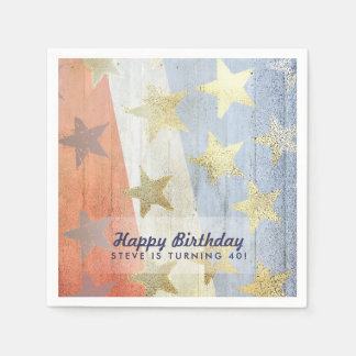 Red White & Blue with Gold Stars Custom Text Paper Napkins