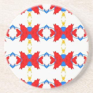 Red White Blue Yellow Boys Tribal Pattern Coaster