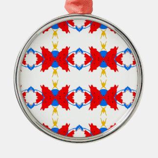 Red White Blue Yellow Boys Tribal Pattern Metal Ornament