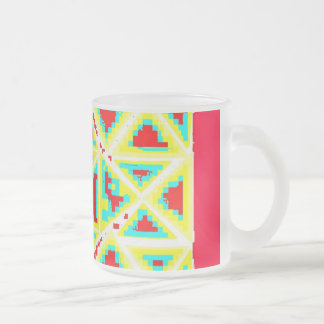 red white blue yellow cup by : da'vy frosted glass mug