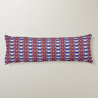 Red White & Blue zigzag lattice work design Body Pillow